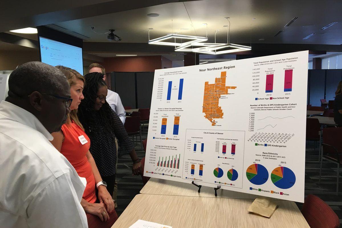 Members of Denver's Strengthening Neighborhoods Initiative committee examine demographic data at a meeting Monday.
