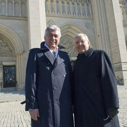 The Church of Jesus Christ of Latter day-Saints President Dieter F. Uchtdorf, left, and Elder M. Russel lBallard stand outside the Washington National Cathedral after the National Prayer Service on Wednesday, Jan. 21, 2009, in Washington. (AP Photo/Kevin Wolf
