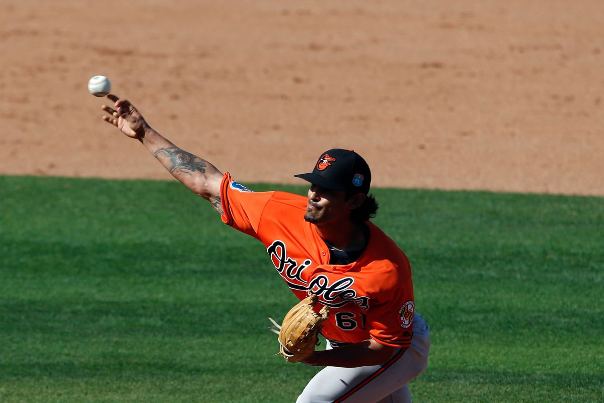 Jason Garcia pitches for the Orioles in spring training 2016.