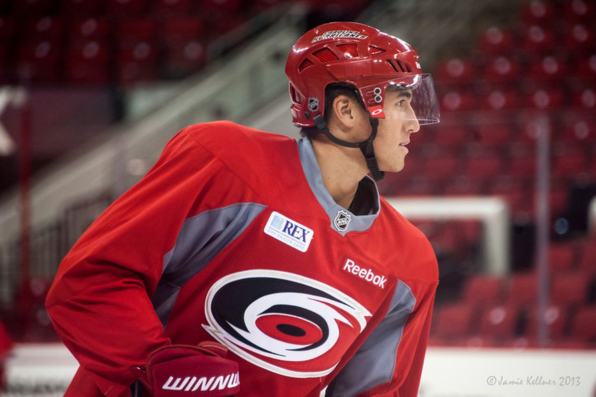 Victor Rask skating at Hurricanes development camp on Tuesday, July 16, 2013.
