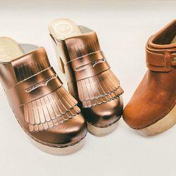 "No 6. open back 'Kiltie' platforms in bronze, <a href=""http://no6store.com/no6-clogs/leather/open-back-kiltie-on-platform-in-bronze.html"">$305</a>; No. 6 'Whiskey' clog platforms in bourbon, <a href=""http://no6store.com/no6-clogs/leather/whiskey-clog-on-p"