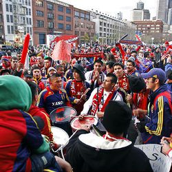 Real Salt Lake fans rally before the game as Real Salt Lake and the Los Angeles Galaxy play soccer in the MLS Cup final at Qwest Field Sunday, Nov. 22, 2009, in Seattle.