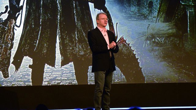 Jim Ryan, then the president and CEO of Sony Computer Entertainment Europe, speaks on stage at Gamescom 2014.
