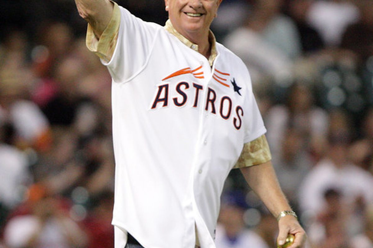 April 20, 2012; Houston, TX, USA; Former Houston Astros pitcher Larry Dierker waves to fans before throwing out the first pitch before a game against the Los Angeles Dodgers at Minute Maid Park. Mandatory Credit: Troy Taormina-US PRESSWIRE