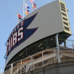 5:20 p.m. Wind blowing in at the center-field scoreboard -