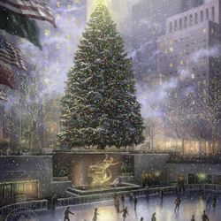 """This undated photo provided by The Thomas Kinkade Company via PR Newswire shows """"Christmas in New York"""" by Thomas Kinkade. Kinkade, whose brushwork paintings of idyllic landscapes, cottages and churches have been big sellers for dealers across the United States, died Friday, April 6, 2012, a family spokesman said."""