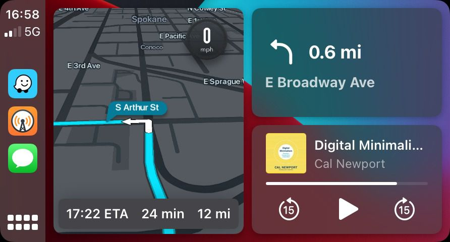 Screenshot of Apple CarPlay with Waze directions on the left half and top right of the screen, and media controls in the bottom left