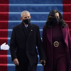 Former President Barack Obama and his wife Michelle arrive for the 59th Presidential Inauguration at the U.S. Capitol for President-elect Joe Biden in Washington, Wednesday, Jan. 20, 2021.