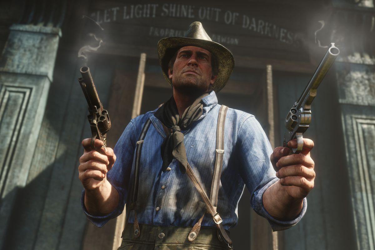 Red Dead Redemption 2 - Arthur dual-wielding revolvers