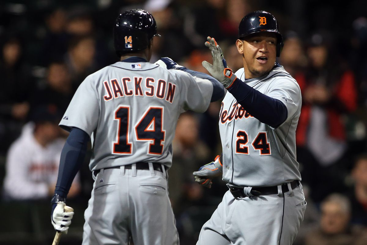 Cabrera celebrates with Jackson afters scoring a run against the White Sox on April 29, 2014