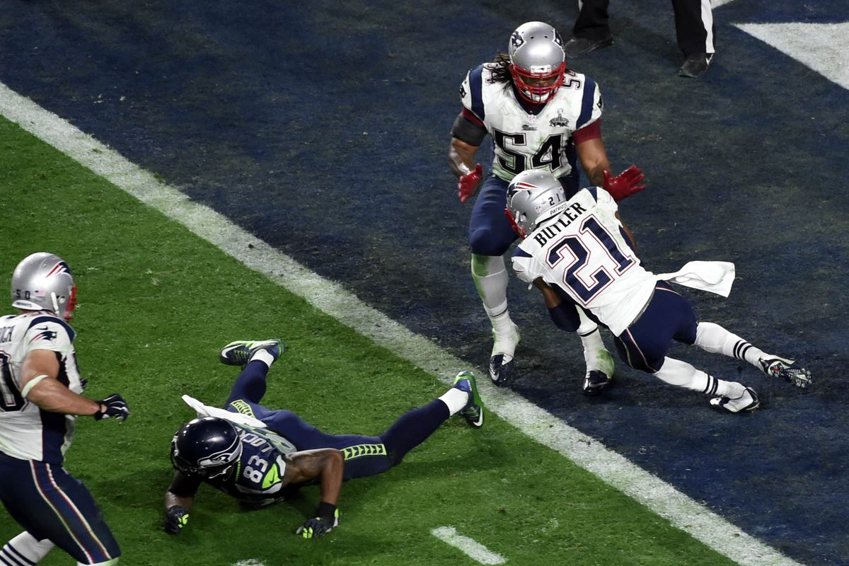 Malcolm Bulter intercepts a pass to seal New England's Super Bowl XLIX victory
