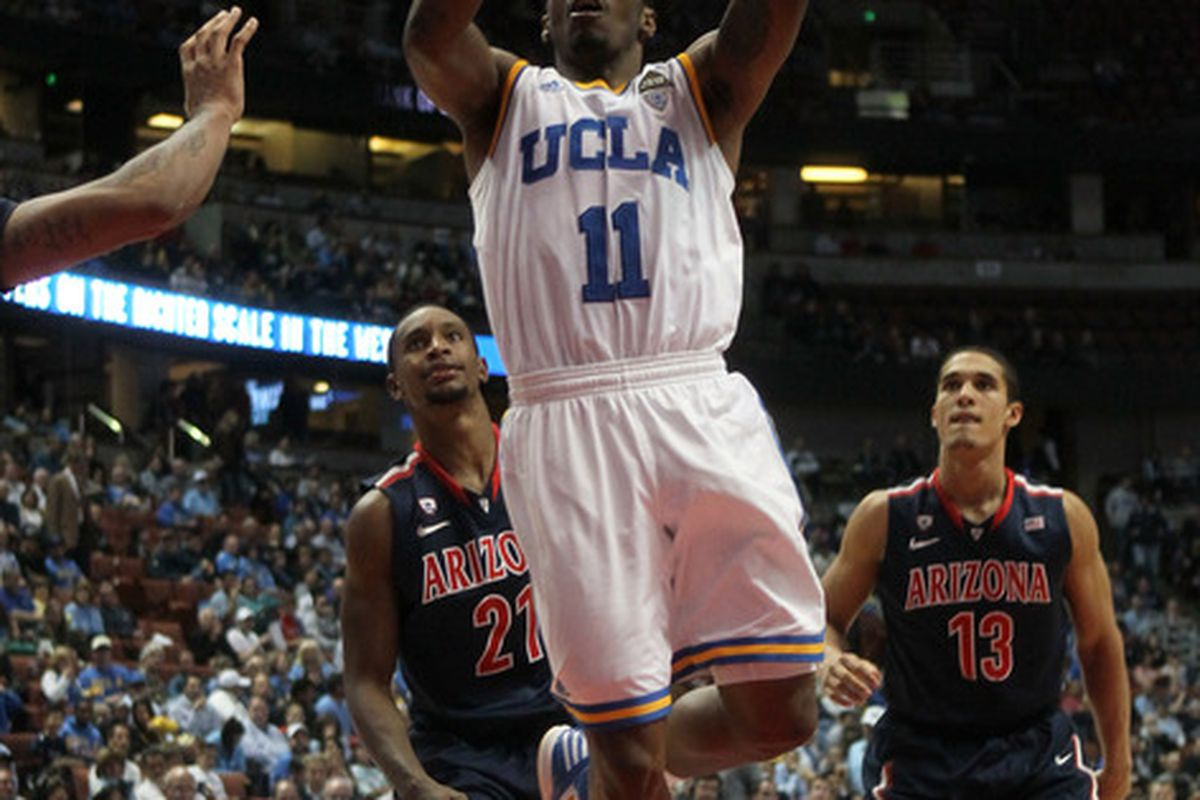 UCLA Captian Lazeric Jones #11 of the UCLA Bruins had a near complete game in leading UCLA to victory over Stanford.  (Photo by Stephen Dunn/Getty Images)