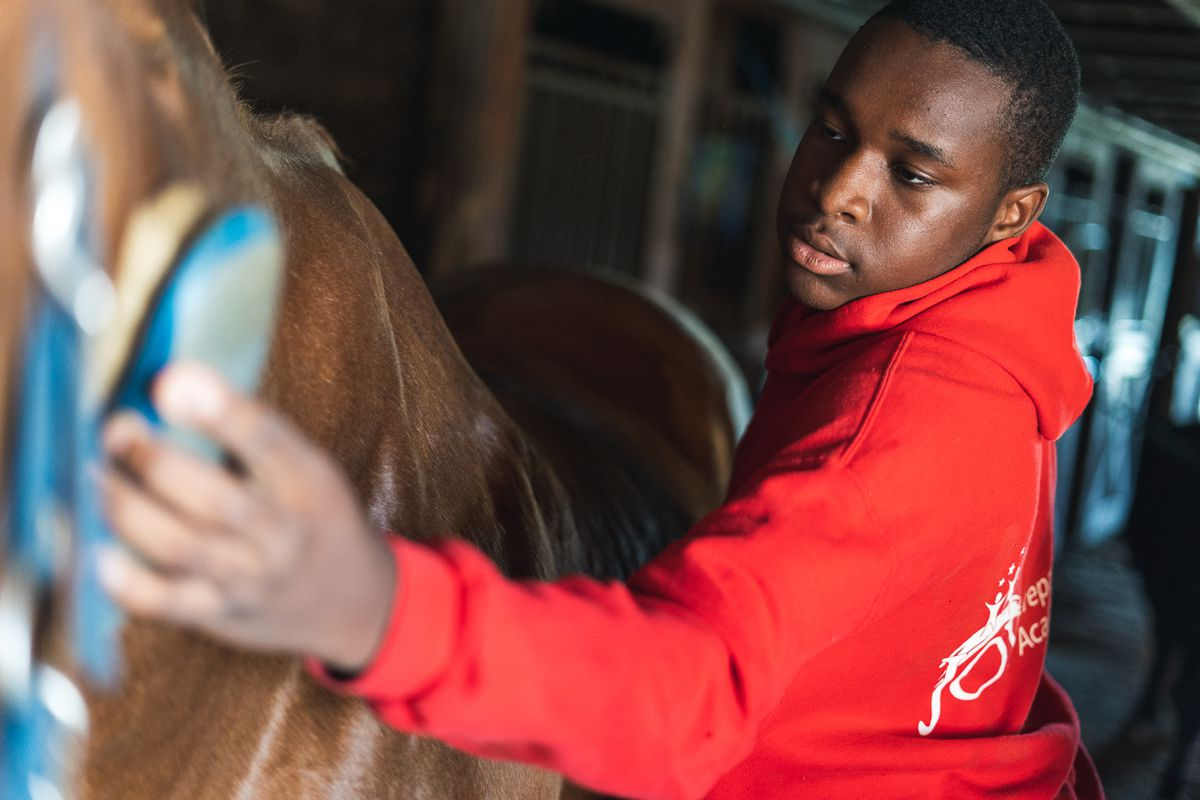 A Detroit student cares for a horse as part of a program offered through Detroit Horse Power.