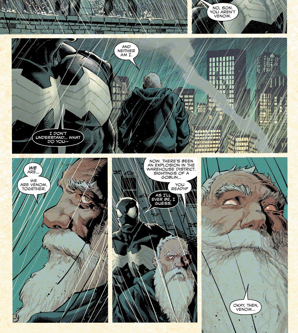 """""""We are Venom. Together,"""" an elderly-looking Eddie Brock tells his son, who is wearing the Venom symbiote. """"Now, there's been an explosion in the warehouse district,"""" he continues, his eyes turning white, """"Sightings of a goblin... you ready?"""" in Venom #200 (2021)."""
