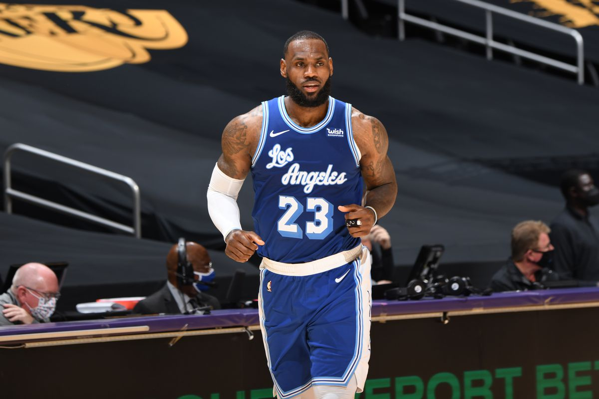 LeBron James #23 of the Los Angeles Lakers looks on during the game against the Denver Nuggets on February 4, 2021 at STAPLES Center in Los Angeles, California.