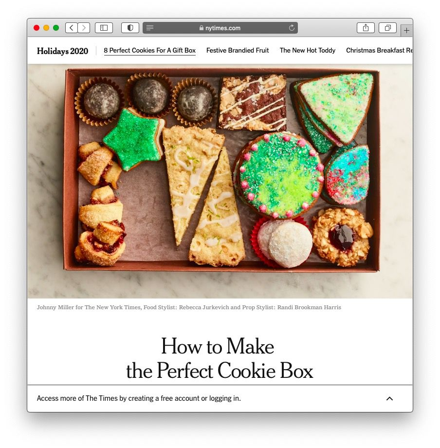 Screenshot of the New York Times cookie box article.