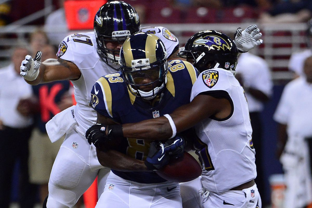 Omar Brown, seen stripping the ball from Rams receiver Brian Quick, probably did enough this preseason to earn a roster spot.