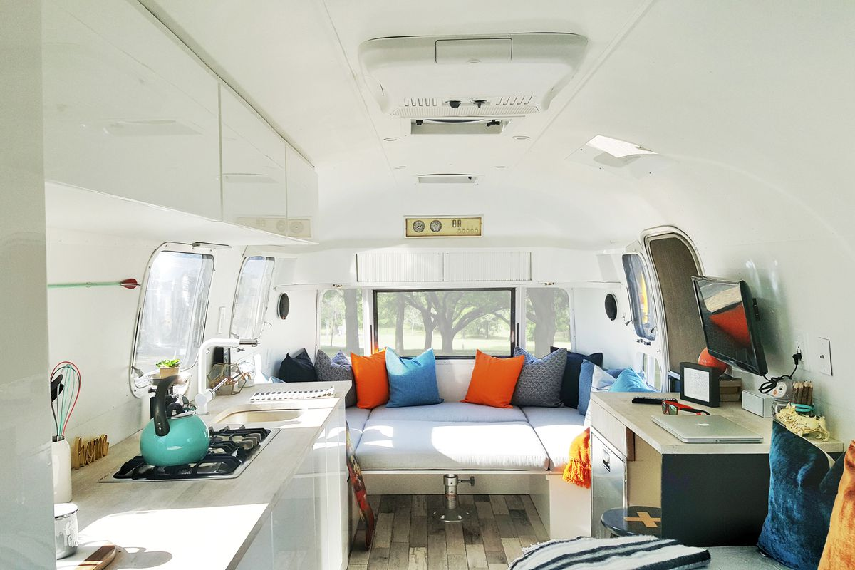 The interior of a 1972 vintage Airstream asking $78,000. All photos  courtesy of Silver Buddha Design
