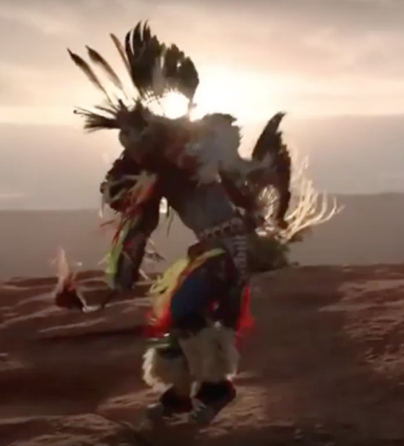 An image of a Lakota dancer from the new Sauvage ad by Dior. The company says it worked with Americans for Indian Opportunity, a respected but sometimes controversial consulting firm based in Albuquerque, New Mexico, on the campaign.