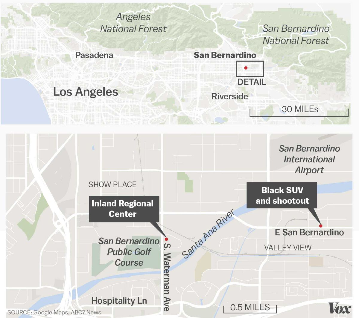 The location of the mass shooting and subsequent shootout in San Bernardino, California.