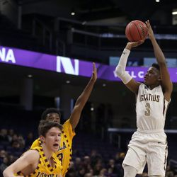 St. Ignatius's Christian Davis (3) shoots over the Loyola defense in their 56-46 loss at Northwestern University in Evanston, Friday, February 8, 2019.   Kevin Tanaka/For the Sun Times