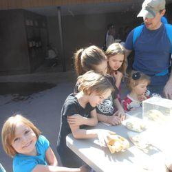 Homeschool co-op children learn about skeletal shapes.
