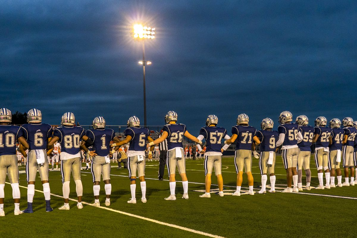 Star Spangled Banner performed, Paris Texas Wildcats defeat Celina, Bobcats 54-7 in High School Division 4 Football Game
