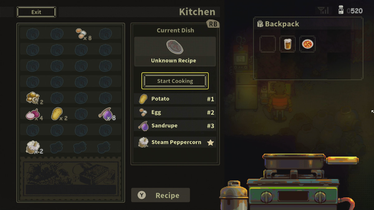Cooking at the kitchen menu in Eastward
