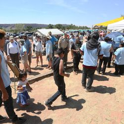 Hundreds line up trying to get into a meeting in Bluff with Interior Secretary Sally Jewell on Saturday, July 16, 2016. Jewell was in southern Utah to discuss the preposed Bears Ears National Monument.