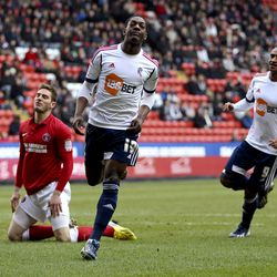 LONDON, ENGLAND - MARCH 30: Marvin Sordell of Bolton celebrates after scoring the opening goal of the game during the npower Championship match between Charlton Athletic and Bolton Wanderers at the Valley on March 30, 2013 in London, England. (Photo by Be