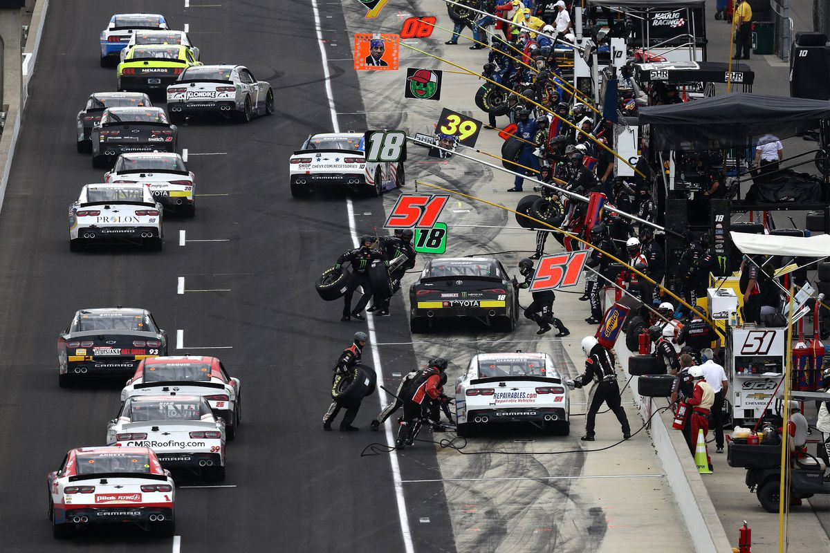 A general view of pit road during the NASCAR Xfinity Series Pennzoil 150 at the Brickyard at Indianapolis Motor Speedway on July 04, 2020 in Indianapolis, Indiana.