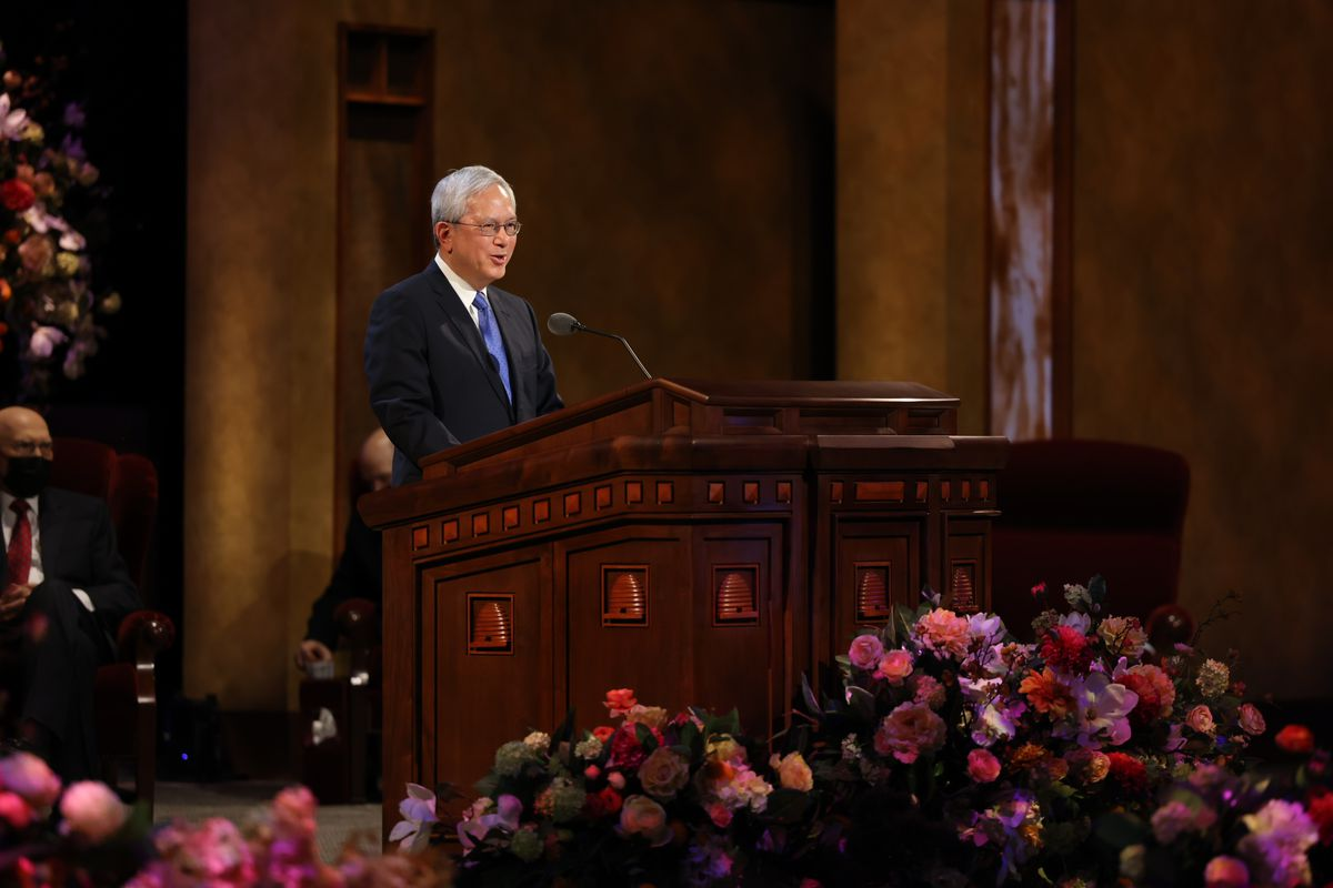 Elder Gerrit W. Gong, a member of the Quorum of the Twelve Apostles of The Church of Jesus Christ of Latter-day Saints, speaks during the Saturday morning session of the 191st Annual General Conference in Salt Lake City on April 3, 2021.