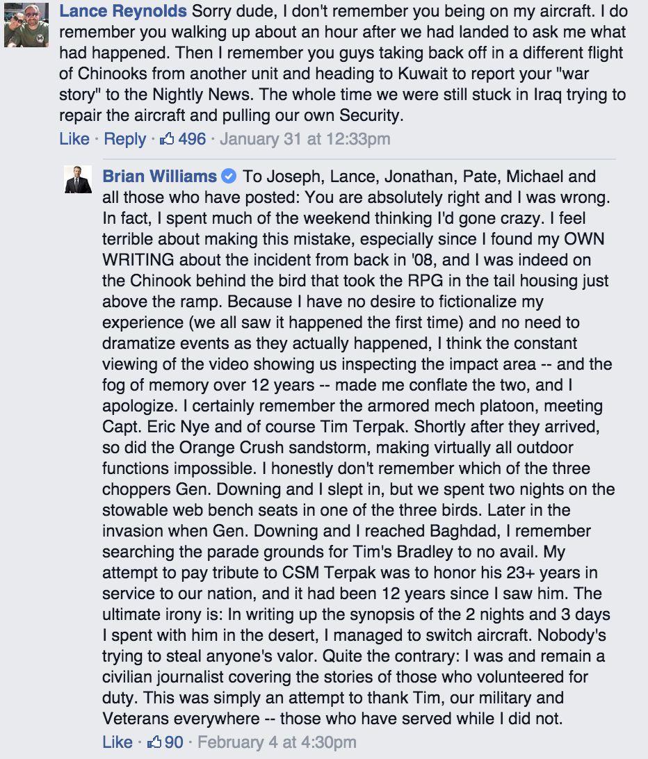 Brian Williams Facebook