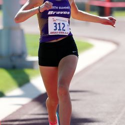Elizabeth Zwahlen of North Summit High School wins the 2A girls high school state cross-country championships in Cedar City on Wednesday, Oct. 21, 2020.
