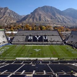 LaVell Edwards Stadium is seen as Brigham Young University and San Jose State University prepare to face each other in NCAA football in Provo on Saturday, Oct. 28, 2017.