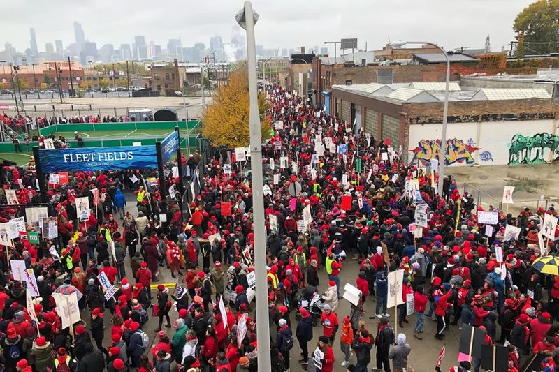 Teachers rally outside the Hideout near Lincoln Yards on Oct. 29, 2019.