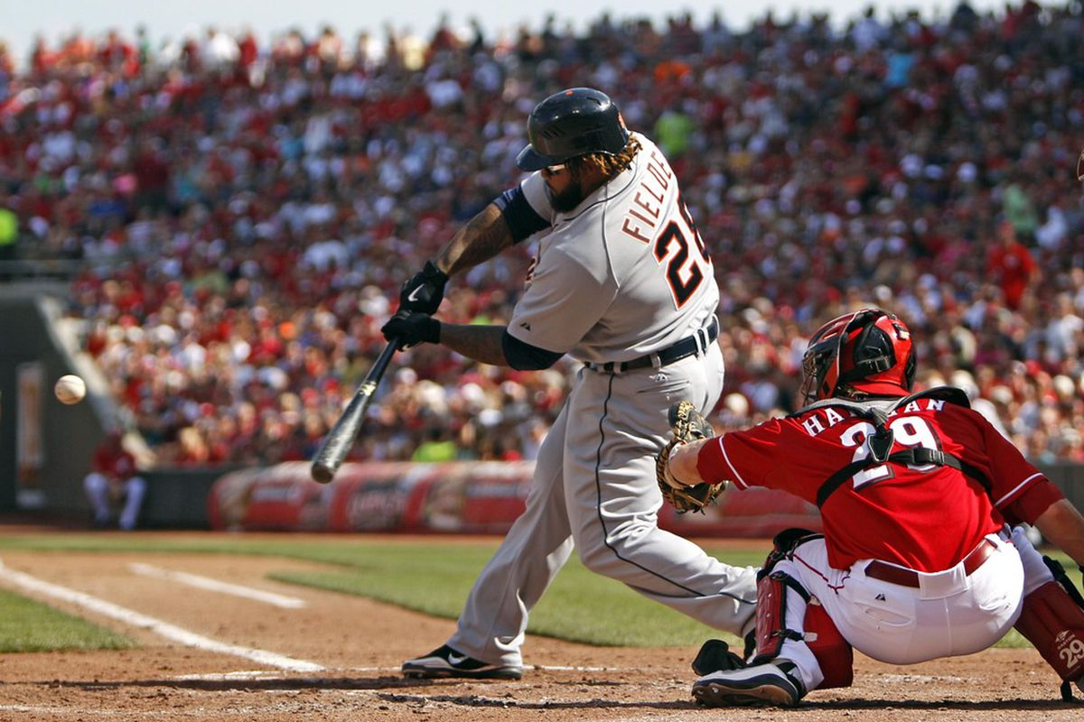 Jun 9, 2012; Cincinnati, OH, USA; Detroit Tigers first baseman Prince Fielder (28) hits a home run during the fourth inning against the Cincinnati Reds at Great American Ball Park. Mandatory Credit: Frank Victores-US PRESSWIRE
