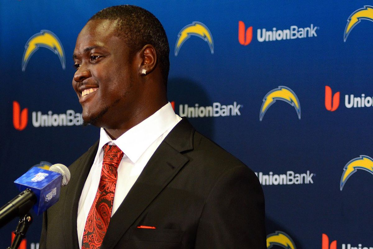 San Diego Chargers first round draft pick Melvin Ingram speaks to the media at Charger Park.  Mandatory Credit: Jake Roth-US PRESSWIRE