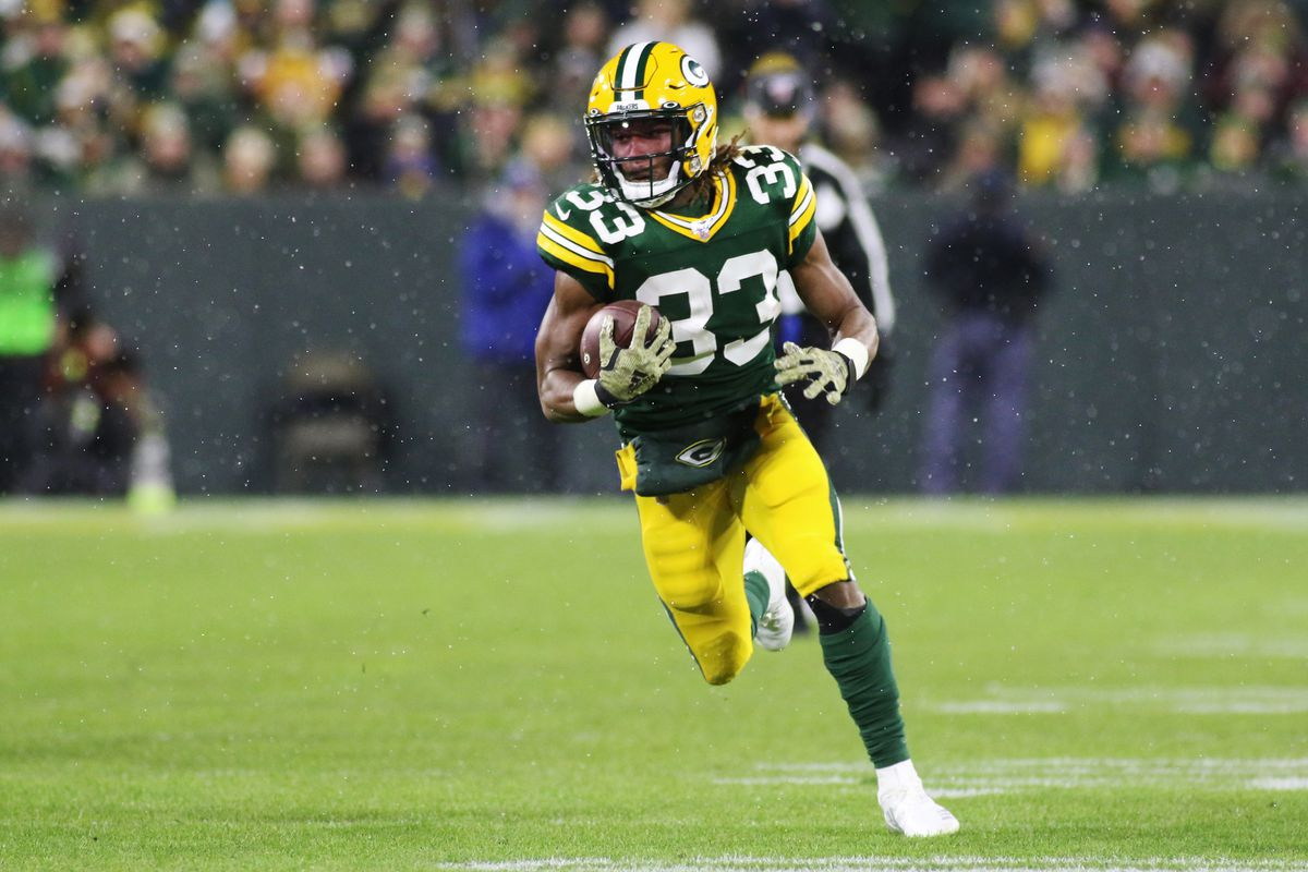 Green Bay Packers running back Aaron Jones runs in the open field during game between the Green Bay Packers and the Carolina Panthers on November 10, 2019 at Lambeau Field in Green Bay, WI.
