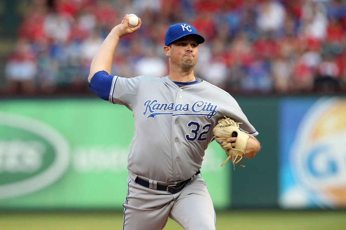 ARLINGTON, TX - MAY 15: Vin Mazzaro #32 of the Kansas City Royals pitches against the Texas Rangers at Rangers Ballpark in Arlington on May 15, 2012 in Arlington, Texas. (Photo by Layne Murdoch/Getty Images)