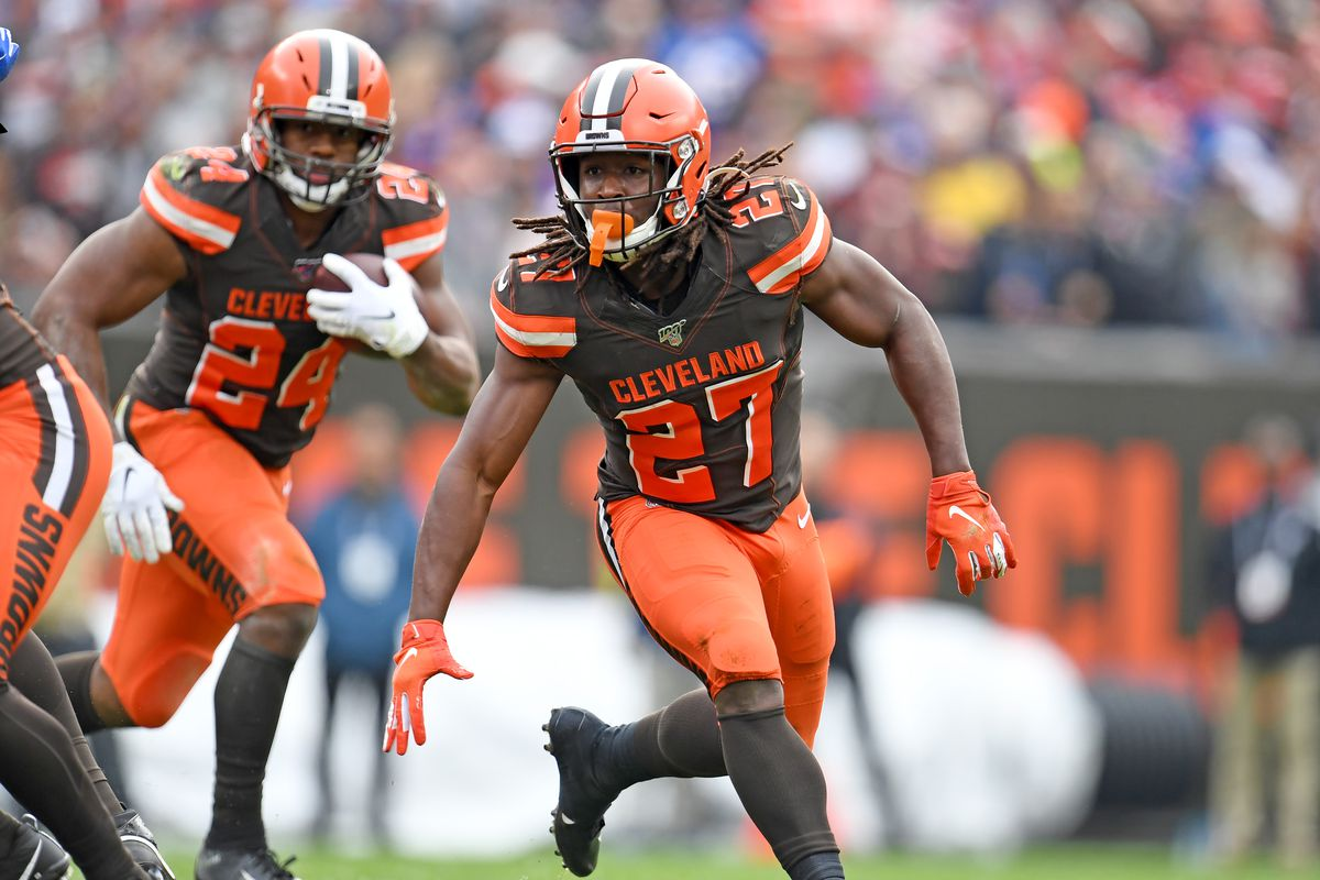 Running back Kareem Hunt blocks for running back Nick Chubb of the Cleveland Browns during the first half against the Buffalo Bills at FirstEnergy Stadium on November 10, 2019 in Cleveland, Ohio.