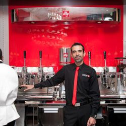 Master Barista Giorgio Milos haeds up illy's international barista training program. He's in town training staff here now.