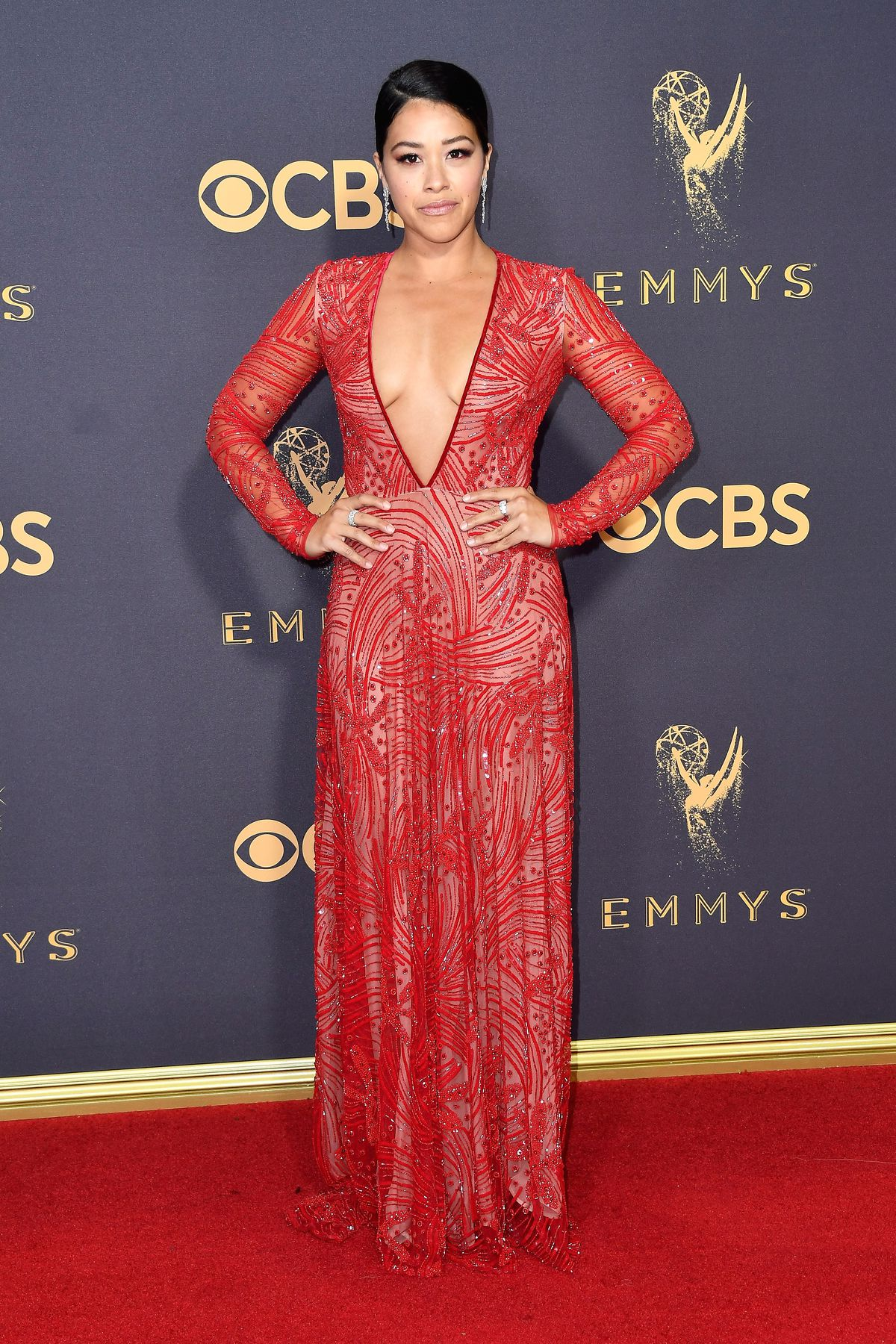 Gina Rodriguez at the 2017 Emmys.