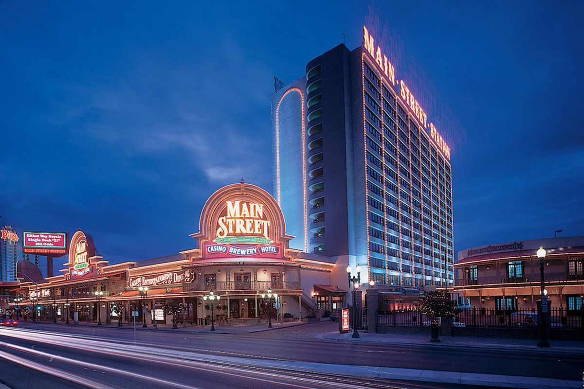 The exterior of a casino at night