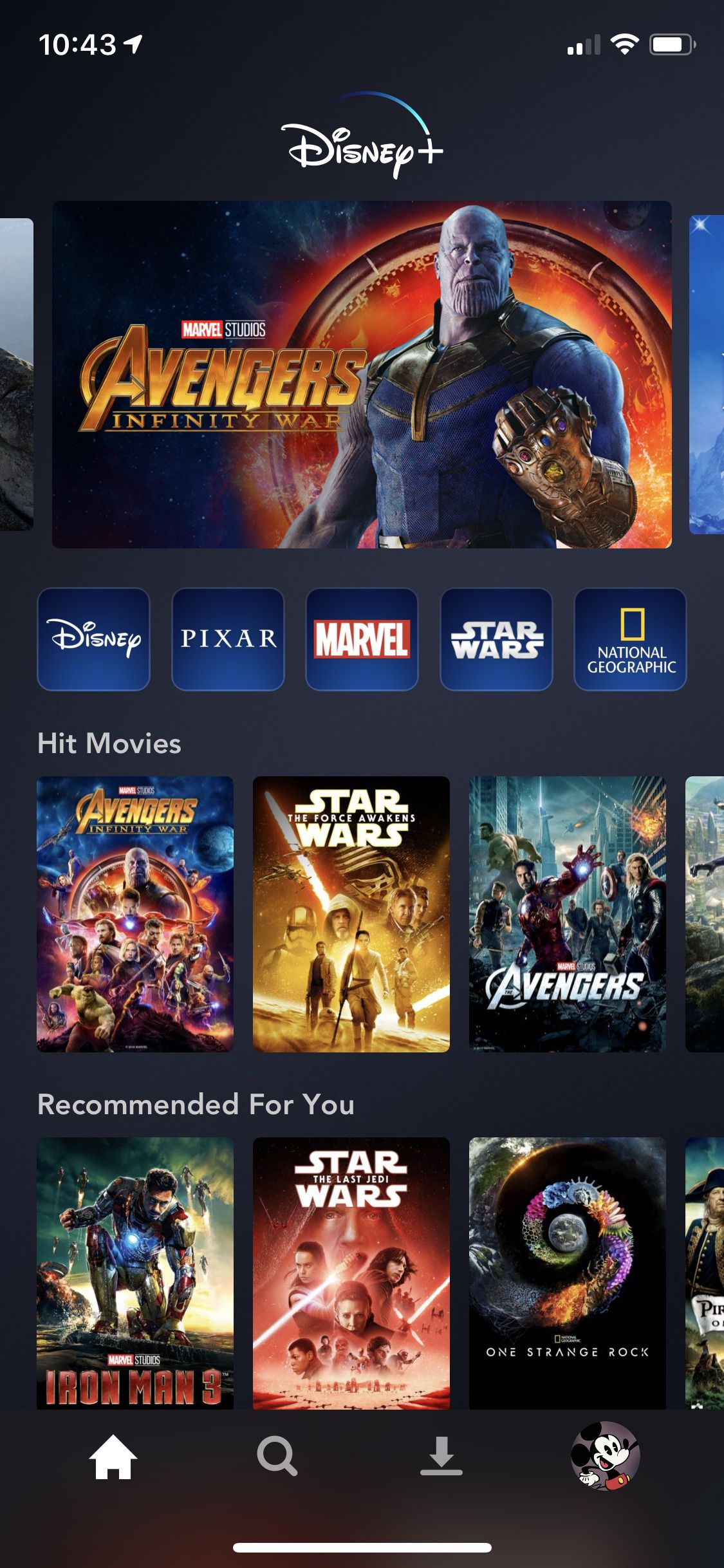 Capture d'écran de Disney + sur IOS