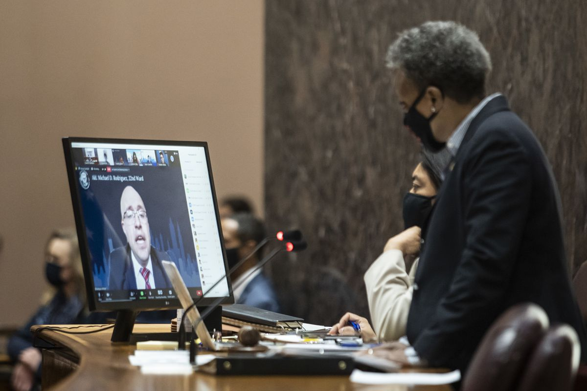 Ald. Mike Rodriguez (22nd) speaks virtually during the Chicago City Council meeting Wednesday at City Hall.
