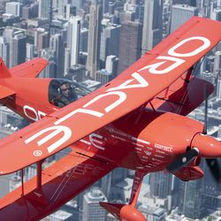 Sean Tucker flies over Chicago on media day for Chicago Air and Water Show. | Colin Boyle/Sun-Times