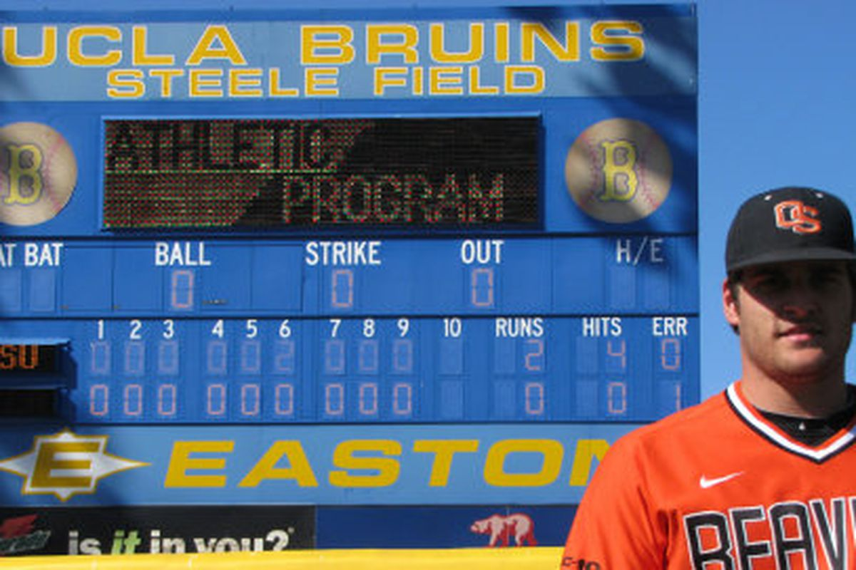 Oregon St.'s Hank Hager captured this image of Josh Osich and the evidence of his no hitter against UCLA after Saturday's 2-0 win.