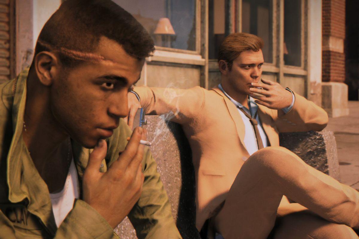 Mafia 3 protagonist Lincoln Clay sits on a bench smoking next to CIA agent John Donovan