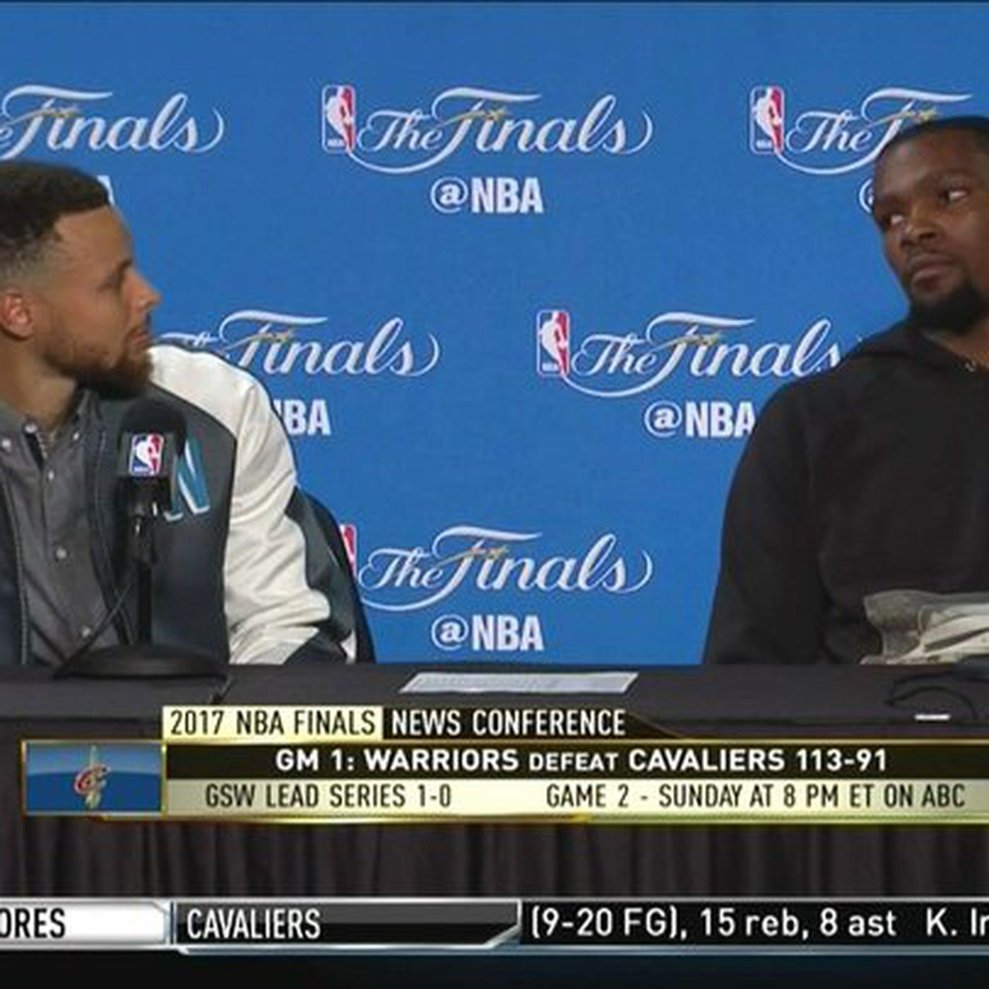 427842695273 Did Kevin Durant stare down Rihanna  Steph Curry won t let him answer that   trap  question - SBNation.com